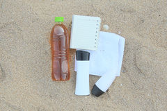błękitny butelki ochrony ochronny słońca sunscreen Obrazy Stock