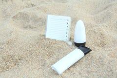 błękitny butelki ochrony ochronny słońca sunscreen Obrazy Royalty Free