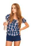 błękitny butelki target1419_0_ dziewczyny isol wodny biel Obraz Stock