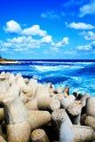 błękitny chmur kolorowy bufiasty sceny morza niebo Obrazy Royalty Free