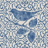 Błękitny chmurny akwarela ptak Obraz Royalty Free