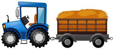 Błękitny ciągnik z furgonem ładującym z sianem Fotografia Royalty Free
