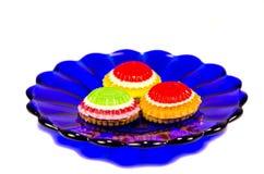 błękitny ciastek talerza biel Zdjęcie Royalty Free