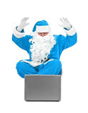 błękitny Claus Santa zaskakiwał Fotografia Royalty Free