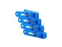 Błękitny clothespin na bielu Fotografia Royalty Free
