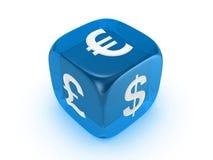 błękitny curreny kostka do gry podpisują półprzezroczystego Fotografia Stock