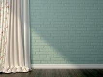 Błękitny curtaince i cegła Zdjęcia Royalty Free