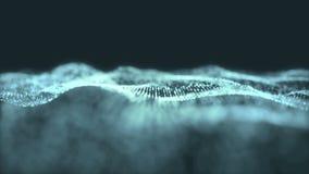 Błękitny cyfrowy falowy tło abstrakta tytuł zamazywał animację bezszwową cząsteczka royalty ilustracja
