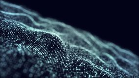 Błękitny cyfrowy falowy tło abstrakta tytuł zamazywał animację bezszwową cząsteczka Kamera zbliża wewnątrz ilustracja wektor