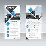 Błękitny czarny kwadrat Biznesowy Stacza się Up sztandaru projekta płaskiego szablon, Abst ilustracja wektor