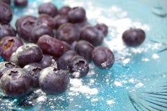 błękitny czarnych jagod szklany talerz Obraz Stock