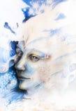 Błękitny czarodziejski mężczyzna twarzy portret z delikatnymi abstrakcjonistycznymi strukturami Zdjęcia Royalty Free