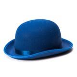 Błękitny dęciaka kapelusz na białym tle fotografia stock