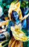 Błękitny dancingowy duch w złotym kostiumu z energetycznymi światłami, mistyczka Zdjęcie Stock