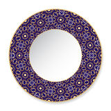 Błękitny dekoracyjny talerz z złoto wzorem Zdjęcia Stock