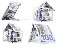Błękitny dolara dom, buda, osacza set odizolowywającego na białym tle Obraz Royalty Free