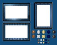 błękitny drelichowa tkaniny ramy cajgów komputeru osobisty pastylki tekstura Obraz Stock