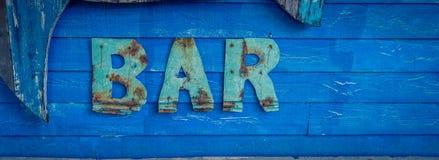Błękitny drewniany baru znak Obraz Royalty Free