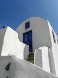 Błękitny drzwi na Santorini Fotografia Stock