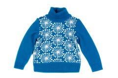 Błękitny dziecka ` s trykotowy pulower Odizolowywa na bielu zdjęcia stock