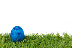 Błękitny Easter jajko na zielonej trawie na białym odosobnionym tle Zdjęcie Royalty Free