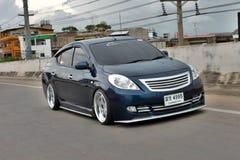 Błękitny ECO Samochodowy sedan w VIP stylu Zdjęcie Royalty Free