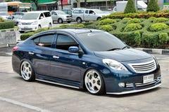 Błękitny ECO Samochodowy sedan w VIP stylu Zdjęcia Royalty Free