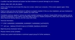 Błękitny ekran śmierć, systemu trzaska raport Fotografia Royalty Free