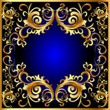 błękitny en ramowy złota wzoru warzywa rocznik Obraz Royalty Free