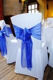 Błękitny faborku krzesła pokrywa Fotografia Royalty Free