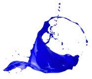 Błękitny farby pluśnięcie odizolowywający na białym tle Obraz Royalty Free