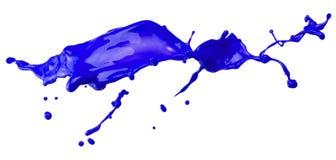 Błękitny farby pluśnięcie odizolowywający na białym tle Obrazy Royalty Free