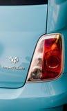 Błękitny Fiat 595 competizione Abarth - tylni widoku signage Fotografia Stock