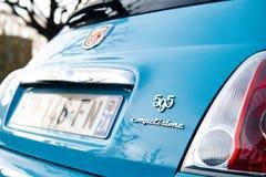 Błękitny Fiat 595 competizione Abarth - tylni widoku signage Zdjęcie Stock