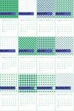Błękitny fiołek i zielona mgiełka barwiliśmy geometrycznego wzoru kalendarz 2016 Obrazy Stock