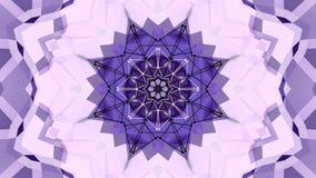 Błękitny fiołkowy niski poli- geometryczny abstrakcjonistyczny tło jako poruszający witrażu lub kalejdoskopu skutek w 4k Pętla 3d royalty ilustracja