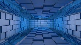 Błękitny futurystyczny astronautyczny tunelowy wejście Zdjęcia Royalty Free