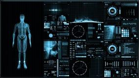 Błękitny futurystyczny cierpliwego monitoru ekran w perspektywicznym, Medycznym parawanowym interfejsie/ ilustracja wektor