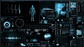 Błękitny futurystyczny cierpliwego monitoru ekran w perspektywicznym, Medycznym parawanowym interfejsie/ ilustracji