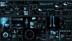 Błękitny futurystyczny cierpliwego monitoru ekran w perspektywicznym, Medycznym parawanowym interfejsie/ royalty ilustracja