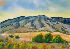Błękitny góra krajobraz - Oryginalny akwarela obraz Obrazy Stock