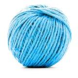Błękitny galonowy skein, szydełkowa niciana rolka odizolowywająca na białym tle Obraz Royalty Free