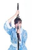 błękitny gejszy katana kimono obrazy stock