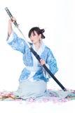 błękitny gejszy katana kimono fotografia stock