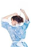 błękitny gejszy włosiany kimonowy zdjęcia royalty free