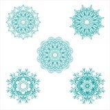 Błękitny geometrii mandala ustawia dekorację dla ornamentu royalty ilustracja