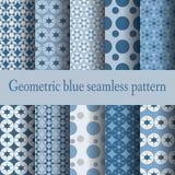błękitny geometryczny deseniowy bezszwowy Obraz Stock
