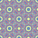 błękitny geometryczny deseniowy bezszwowy Wielo- barwiony tło z czerwienią i żółtym projektem Obrazy Stock