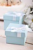 Błękitny giftbox obraz royalty free