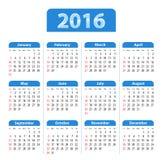 Błękitny glansowany angielszczyzna kalendarz dla 2016 royalty ilustracja